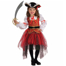 Halloween Girls Perform costumes, cute and funny little girls dressed as pirates of Halloween costumes,children's Halloween Gift