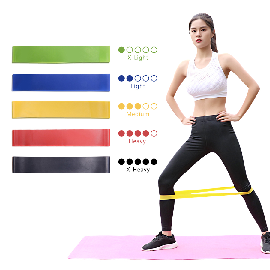 ZSOOQ Resistance Loop Bands for Home Fitness Workout Exercise Bands Set of 5 Stretching Carry Bag