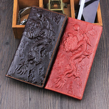 2016 China Dragon Genuine Leather Long Wallets Both Women Men New 3D Embossed Vintage Design Famous Brand Female Clutch Purse