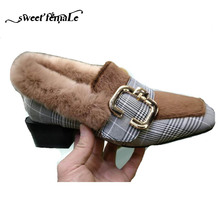 New Autumn Winter Fashion Grid cloth Brand High heels Fur shoes women Pumps Thick with Metal buckle Black brown Horse hair plush(China)