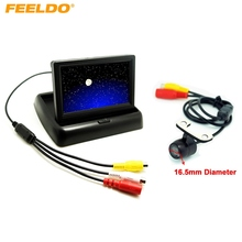 "FEELDO 4.3"" Foldable TFT LCD Digital Monitor With CCD Reversing Backup Camera Car Rear View System #J-3788"