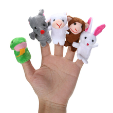Chinese Zodiac 12pcs/lot Animals Cartoon Biological Finger Puppet Plush Toys Dolls Child Baby Favor Finger Doll