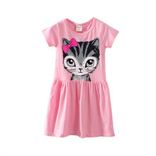 Baby Girl Princess dress vestidos 2017 kids girls dress Clothes Princess Casual Party Cat Print Spring Summer vestido infantil