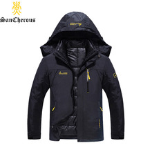 2017 Plus Size 9 Colors Waterproof Winter Jacket Men Warm 2 in 1 Parkas Windproof Detachable Hood Winter Coat Size L-6XL(China)