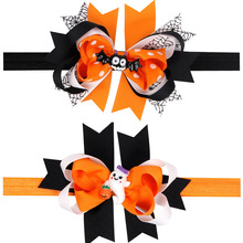 20PCS/LOT Bat Halloween Punk Hair Bow Headbands for Hair Ghost Pumpkin Color Bow Hair Accessories Best Friend Holiday DIY Gift(China)