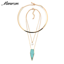 Manerson Fashion ZA Torques Necklace Pendant Statement Collar Women Boho Choker Gold Neck Chain Maxi Collier Femme Jewelry