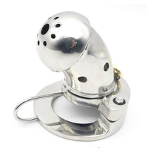 Buy Latest design cock cage stainless steel chastity device cockring metal ball stretcher scrotum male bondage sex ring man