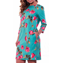 Vintage Casual Flower Roses Print Dress Spring 2017 Fashion Plus Size Women Clothing Large Sizes Straight Dress Vestidos Mujer(China)