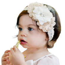 1PC Fashion kids Children Baby Flower Pearl & 2-layer Pink Bowknot Headband Hair Bands Girls Hats Band Headpiece Accessories(China)