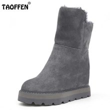 TAOFFEN Women Winter Snow Boots For Women Thick Fur Warm Botas Female Height Increasing Thick Platform Shoes Women Size 35-39(China)