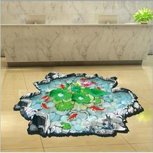 3D Pool Wall Sticker Waterproof Lotus Pond Gold Fish for Children Bathroom Home Personalized Floor Wall Sticker Decals DM69-007