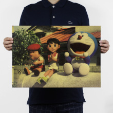 Doraemon STAND BY ME/E Style/classic Cartoon movie Comic/kraft paper/bar poster/Retro Poster/decorative painting 51x35.5cm(China)