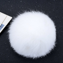 8CM Natural Rabbit Fur Ball Keychain Pompom Fluffy Lovely Key Chain Key Ring Cute Pom Pom Porte Clef For Women Bag Charm Toys(China)