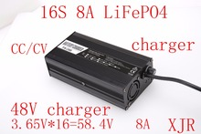 58.4V 8A charger for 16S LiFePO4 battery pack 48V battery smart charger with fan support CC/CV(China)