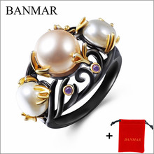 BANMAR New Arrival Special Women Pearl Rings Black & Gold Color Fresh Water Pearl Cubic Zircon Setting Unique Fashion
