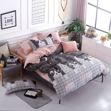 Blue pink gray cartoon / Simple size 4pcs Bedding sets Cotton bed sheet +duvet cover + pillowcase -Single or Student bedspread(China)