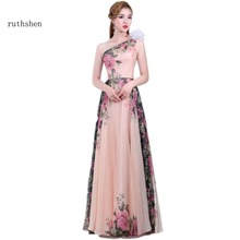 ruthshen Beautiful Cheap Dresses 2017 Long Evening Gowns One Shoulder Floral Pattern Prom Dress Pink Elegant party gowns(China)