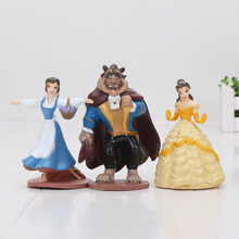 3pcs/set 9-10cm Cute Beauty and the Beast Belle Princess PVC Action Figure Toy Doll(China)