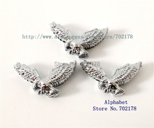 wholesales 10pcs Slide Charm Internal Dia.8mm Eagle through 8mm band Pet Dog Cat Tag Collar band key chain