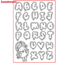 CUTE GIRL WITH BUBBLE ALPHABET Scrapbook DIY photo cards account rubber stamp clear stamp transparent stamp card SWEETMOON
