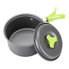 Portable 8 Pieces/Set Camping Cookware Pot Picnic Cookware Tableware Stainless Steel Pan Pot Bowl Cooking Sets 2017(China)