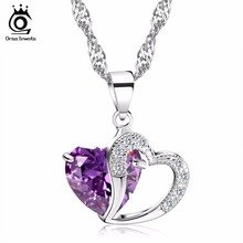 ORSA JEWELS Luxury Double Love Heart Design Pendants with Big Size Charm Heart Purple Crystal Pedant Necklace for Women ON36(China)