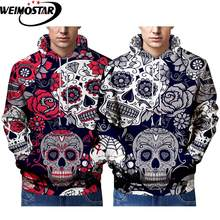 Weimostar Mens Halloween Casual Street Clothing 3D Printed Funny Skulls And Deer Hoodies Sports Big Size Best Selling Sportswear()