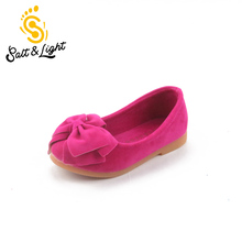 Hot sale 2016 spring autumn children's lovely princess shoes girls bow solid Peas shoes safty quality non-slip shoes for kids(China)