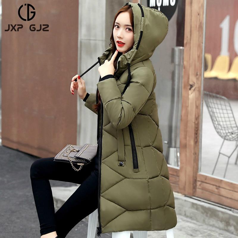 JXP GJZ 2017 Winter Women Jacket Coat Parka Black Red Zipper Full Sleeve Slim Thick Hooded Parkas Plus Size Parkas Femme XXXLÎäåæäà è àêñåññóàðû<br><br>