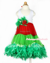 Xmas White Red Green ONE-PIECE Petti Dress with Kelly Green Posh Feather MALP29