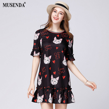 MUSENDA Women Chiffon Cat Print Butterfly Sleeve Ruffles Short Dress Plus Size 5XL 2017 Summer Sundress Cute Brief Mini Dresses(China)