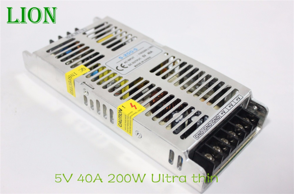Ultrathin 5V 40A Power Supply 200w Led Driver 5v 200w Indoor switch power supply 220V For WS2812b Strip Or Module Lamp<br><br>Aliexpress