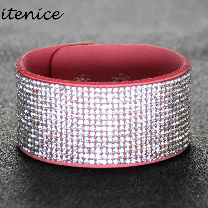 Itenice fashion jewelry high handmade Sparkling crystal double-safety-clasp Irregular pattern bracelets women