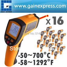 16 pieces x 12:1 DS Digital Pyrometer Infrared IR Laser Thermometer -50~700 C (-58 ~ 1292 F) Range ,lot of 16(Hong Kong)
