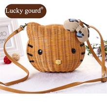 LUCKY GOURD Fashion Messenger Bags Lady Small New Mini All Hand Straw Bag Cane Makes Up Bag For Women Casual Handbags Z790