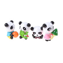 Funny 4 Pcs Mini Panda Fairy Garden Miniatures Gnomes Moss Resin Crafts Figurines For Home Decoration Accessories(China)