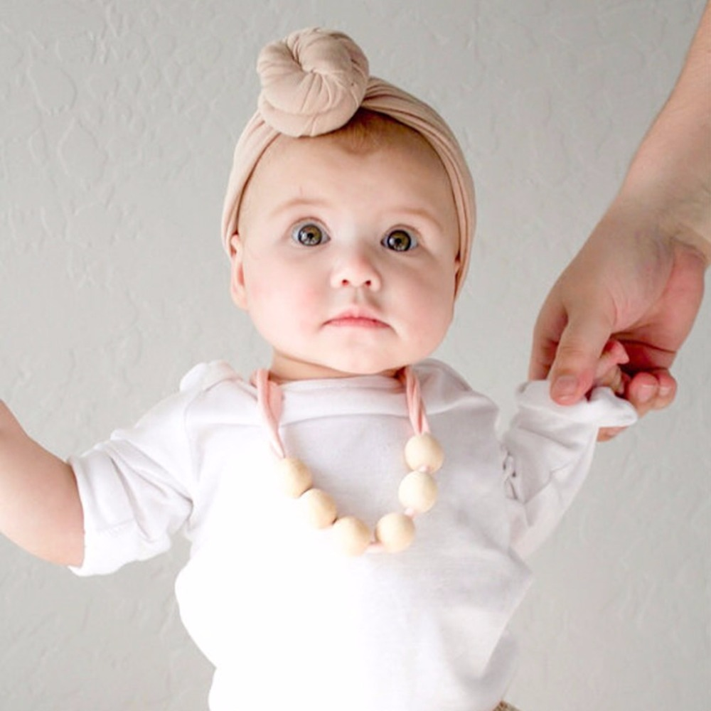 OOTDTY Baby Natural Wood Teeth Chain Necklace Newborn Mom Kids Nursing Teether Toy Gift