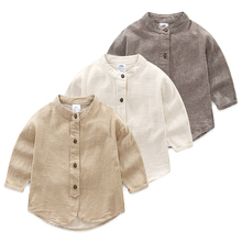 Baby boy long-sleeve shirt 2017 autumn boy solid color stand collar shirt kids tops 2T-10(China)