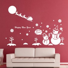 Christmas Wall Decal snowman Santa Claus Wall Decor Christmas Sticker Vinyl Funny Christmas Snowflake Wall Sticker Art M -153(China)