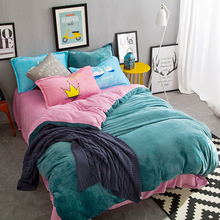 Luxury Textile Winter Warm Solid Color Flannel 4pcs Bedding Sets Fleece Side queen king size pink green Duvet Cover Flat Sheet