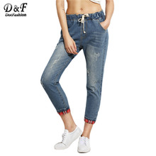 Dotfashion Blue Distressed Drawstring With Plaid Lining Detail Pants Women Mid Waist Cropped Pockets Jeans