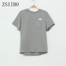 ZSIIBO NVTX09 factory price cat in pocket t shirt casual t shirt men women students love t shirt