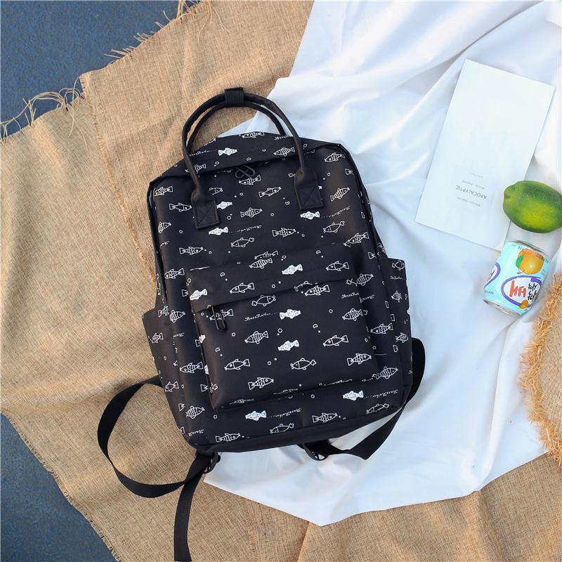 Menghuo Fish Printing Women School Bag Backpack for Teenage Girls Backpacks Female Canvas Children Schoolbag Women Bag s (3)