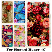 Soft TPU plastic Phone Case Cover For Huawei Honor 4C C8818 5.0 inch Honor5 Honor4C Cases Covers Flower For Huawei G Play Mini