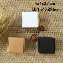 50PCS 4*4*2.5cm Brown Kraft Paper Cardboard Box Gift Box Jewelry Packing Box Ring & Earring Boxes Soap Packaging Caixa