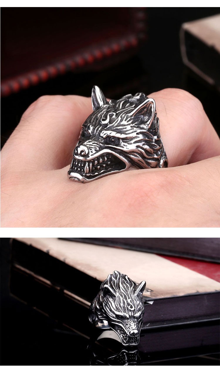 แหวนผู้ชายเท่ห์ๆ Code 043 แหวน หมาป่าดุ Game of thrones สแตนเลส8