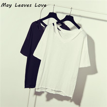 May Leaves Love 2017 Summer Basic t shirt Women Shoulder Hole Cotton Slub V-neck Tops Ladies Fashion Breathe Freely Tees(China)