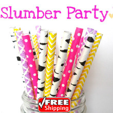 200pcs Mixed 4 Designs Slumber Party Themed Paper Straws-Dot,Birch,Damask,Chevron-Deep Pink,Purple,Yellow,Black-Zebra,Retro,Bulk(China)