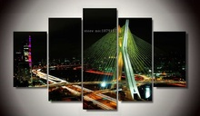 No Frame 5 Pieces Modern Art Home Decor For Living Room Wall Picture Night Overpass Printed Oil Painting On Canvas