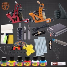 Tattoo Kit Professional 6 Colors Tattoo Ink Sets 2 Machines Set Black Power Supply Needles Permanent Make Up Kit Set